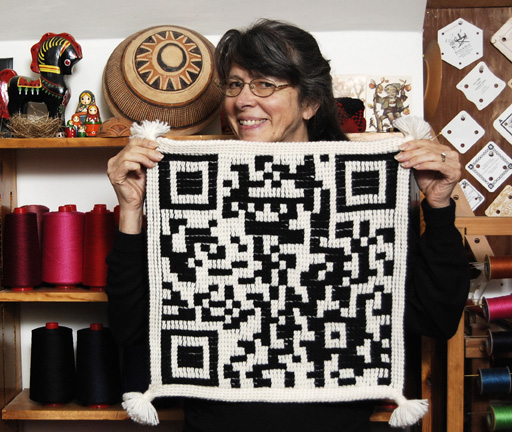 Linda with ply-split QR code