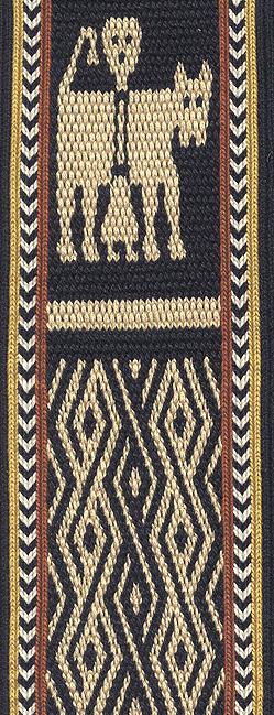 motif based on Ethiopian tablet weaving: the lion and the saint
